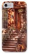 Bike - Ny - Greenwich Village - An Orange Bike  IPhone Case by Mike Savad