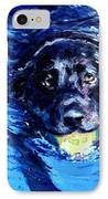 Black Lab  Blue Wake IPhone Case by Molly Poole