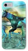 Blue Ocean Horses IPhone Case by Betsy Knapp