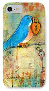 Bluebird Painting - Art Key To My Heart IPhone Case