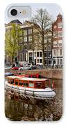 Boats On Canal In Amsterdam IPhone Case by Artur Bogacki