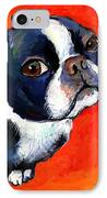 Boston Terrier Dog Painting Prints IPhone Case by Svetlana Novikova