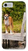 Boxer On Lake Dock IPhone Case by Stephanie McDowell