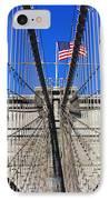 Brooklyn Bridge With American Flag IPhone Case by Nishanth Gopinathan