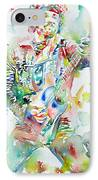 Bruce Springsteen Playing The Guitar Watercolor Portrait IPhone Case