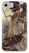 Brunnhilde From The Rhinegold And The Valkyrie IPhone Case by Arthur Rackham