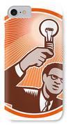 Businessman Holding Lightbulb Woodcut IPhone Case by Aloysius Patrimonio