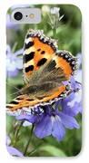 Butterfly On Blue Flower IPhone Case