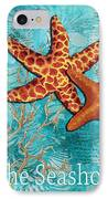 By The Sea Shore Original Coastal Painting Colorful Starfish Art By Megan Duncanson IPhone Case by Megan Duncanson