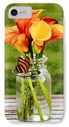 Calla's And The Butterfly IPhone Case by Darren Fisher