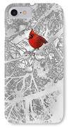 Cardinal In Winter IPhone Case by Ellen Henneke
