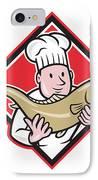 Chef Cook Handling Salmon Trout Fish Cartoon IPhone Case by Aloysius Patrimonio