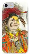 Cherokee In Orange IPhone Case by Lew Davis