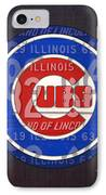Chicago Cubs Baseball Team Retro Vintage Logo License Plate Art IPhone Case by Design Turnpike