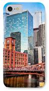 Chicago Downtown At Lasalle Street Bridge IPhone Case by Paul Velgos