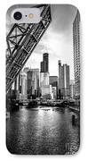 Chicago Kinzie Street Bridge Black And White Picture IPhone Case