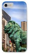 Chicago Lion Statues At The Art Institute IPhone Case by Paul Velgos