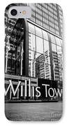 Chicago Willis Tower Sign In Black And White IPhone Case by Paul Velgos