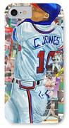 Chipper Jones 14 IPhone Case by Michael Lee