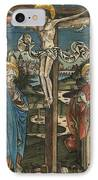 Christ On The Cross With Mary And Saint John IPhone Case by German School