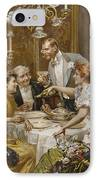 Christmas Eve Dinner In The Private Dining Room Of A Great Restaurant IPhone Case by Ludovico Marchetti