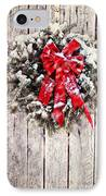 Christmas Wreath On Barn Door IPhone Case