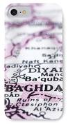 close up of Baghdad on map-Iraq IPhone Case