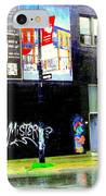 Closing Time Montreal Factory Glatts Produits Quebec Meats Graffiti Art City Scenes Carole Spandau IPhone Case by Carole Spandau