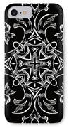 Coffee Flowers 7 Bw Ornate Medallion IPhone Case by Angelina Vick