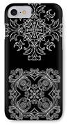 Coffee Flowers Ornate Medallions Bw 6 Peice Collage IPhone Case by Angelina Vick