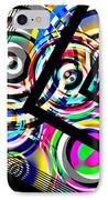 Colored Lines And Circles Art Over Black IPhone Case by Mario Perez