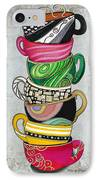 Colorful Coffee Cups Mugs Hot Cuppa Stacked II By Romi And Megan IPhone Case
