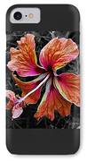 Colorful Hibiscus On Black And White 2 IPhone Case by Kaye Menner