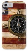 Compass On Wooden Folk Art Flag IPhone Case by Garry Gay