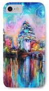 Contemporary Downtown Austin Art Painting Night Skyline Cityscape Painting Texas IPhone Case by Svetlana Novikova