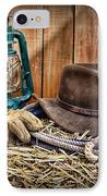 Cowboy Hat And Rodeo Lasso IPhone Case by Paul Ward