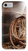 Cowboy Hat On Hay Bale IPhone Case by Olivier Le Queinec