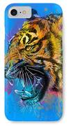 Crazy Tiger IPhone Case by Olga Shvartsur
