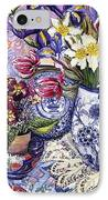Daffodils Tulips And Iris In A Jacobean Blue And White Jug With Sanderson Fabric And Primroses IPhone Case