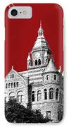 Dallas Skyline Old Red Courthouse - Dark Red IPhone Case by DB Artist