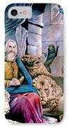 Daniel In The Lions Den IPhone Case by Currier and Ives