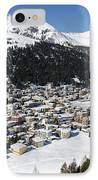 Davos Platz Mountains Parsenn And Town IPhone Case by Andy Smy
