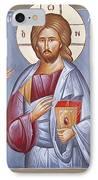 Deisis Jesus Christ St Anastasios And St Eleftherios IPhone Case by Julia Bridget Hayes
