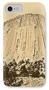 Devils Tower National Monument Between Trees Wyoming Usa Rustic IPhone Case by Shawn O'Brien