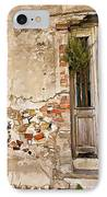 Dilapidated Brown Wood Door Of Portugal II IPhone Case by David Letts