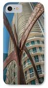Element Of Duenos Do Los Estrellas Statue With Miami Downtown In Background  IPhone Case by Ian Monk
