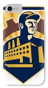 Factory Worker Building Cog Shield Retro IPhone Case by Aloysius Patrimonio