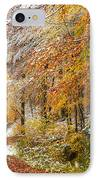 Fall Or Winter - Autumn Colors And Snow In The Forest IPhone Case