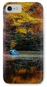 Fall Pond And Boat IPhone Case by Tom Mc Nemar