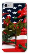 Fallen Toy Soliders On American Flag IPhone Case by Amy Cicconi